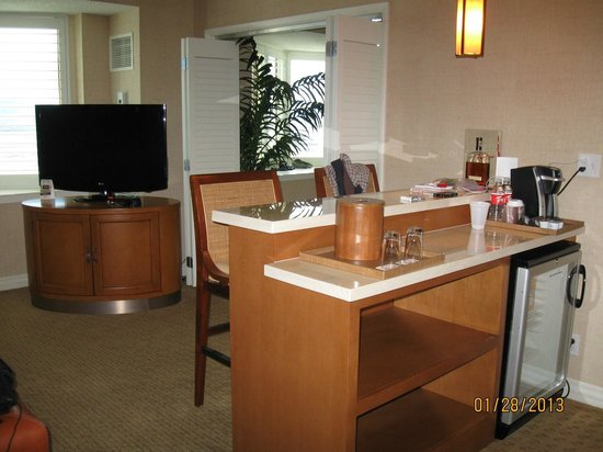 Tropicana Las Vegas - A DoubleTree by Hilton Hotel:                   Bar Area with fridge and coffee