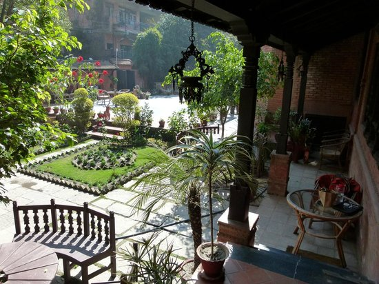 Kantipur Temple House: front garden and yard