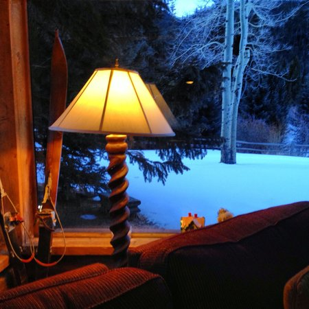 Ski Tip Lodge:                   Morning view from sitting room