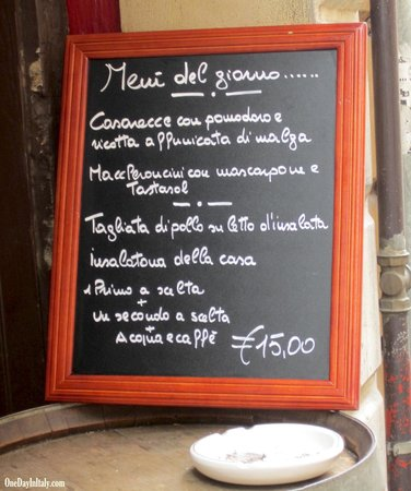 Al Duomo:                                     Daily Lunch Menu - perfection! Maybe TOO much food!