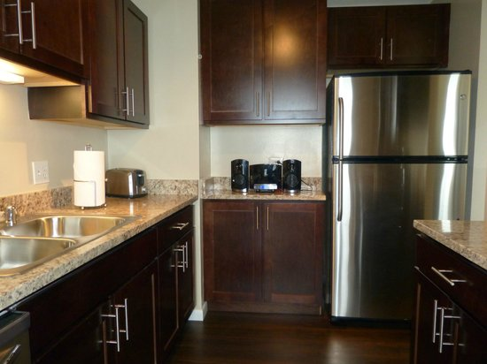 Manilow Suites At North Harbor Tower: Stainless steel appliances and granite counters in new kitchen