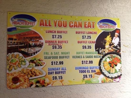Hibachi Buffet:                   Hibachi Grill