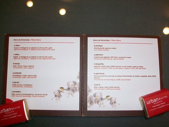 Urban Suites Recoleta Boutique Hotel:                   menu de travesseiro