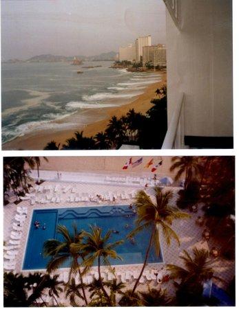 Elcano Hotel:                   Deck do hotel vista da baia de acapulco e abaixo a piscina