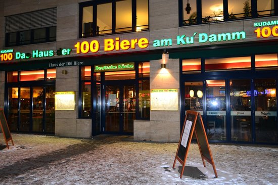 Haus der 100 Biere:                   Facade of the restaurant in the January night;))