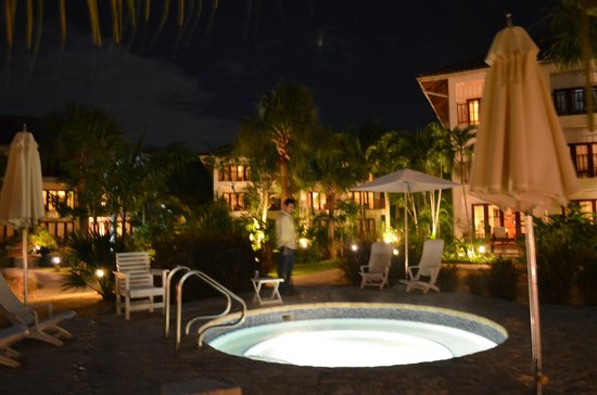 Couples Swept Away:                   hot tub near our room at night