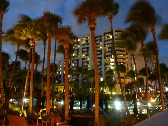 Fort Lauderdale Marriott Harbor Beach Resort & Spa:                   View of the hotel from the pool in the evening