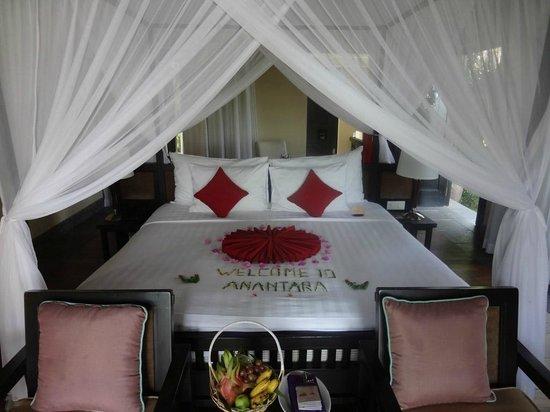 Anantara Mui Ne Resort:                   Rm 603 bedroom welcome