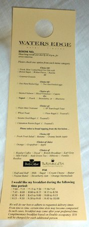 Waters Edge Hotel: Breakfast menu
