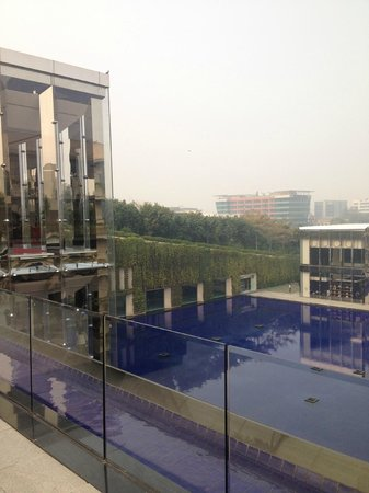 The Oberoi:                   View from the bridge which joins rooms & lobby