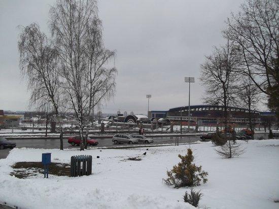 Belarus Hotel:                   Stadium opposite the hotel