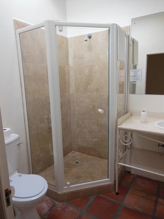 Auberge Burgundy:                   Poolside Room #15 - Glass enclosed shower stall.  (No bath tub)