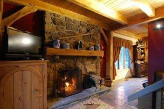 Shadow Mountain Escape: Bumble Bee Stone Gas Fireplace - Living Room
