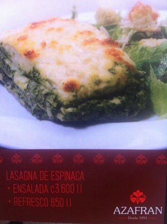 Azafran: Publicidad del menù
