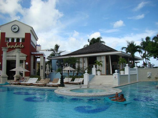 Sandals Royal Bahamian Spa Resort & Offshore Island:                   Restaurant by the pool (best Nachos!)
