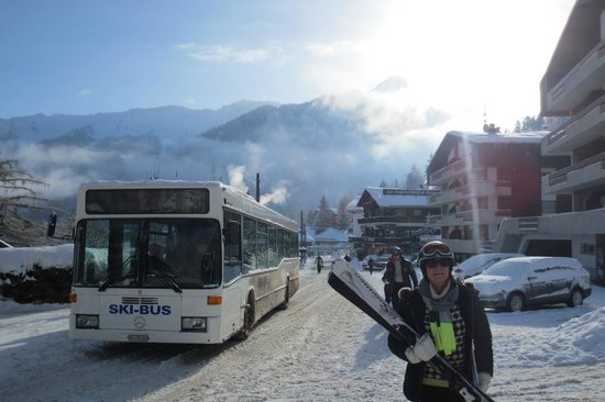 Les Fougeres Hotel and Harrys Bar:                   ski bus leaving the hotel