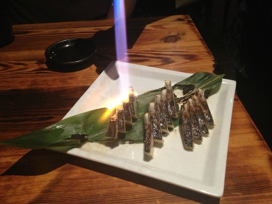 Oto-Oto Izakaya Japonaise:                   Fresh mackerel seared at table.