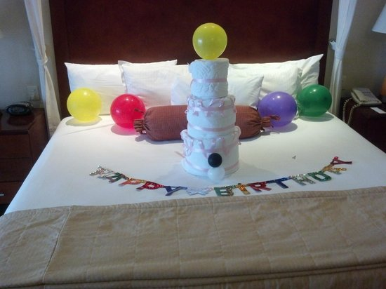 Omni Cancun Resort & Villas:                                     Birthday decoration by Maid/Guest services.