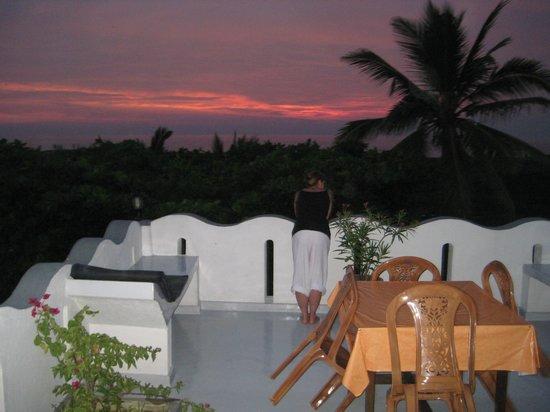 Seagreen Guesthouse:                   Abend auf der Dachterasse