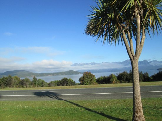 Manapouri Lakeview Motor Inn:                   View from our room. There was very little traffic on the small road in front s