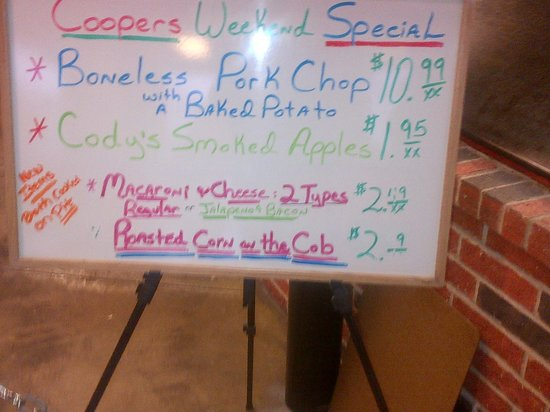 Cooper's Old Time Pit Bar-B-Que: Specials Board