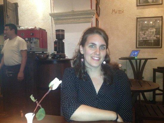 Restaurante Mammas Antigua:                   Hannah waiting for dinner