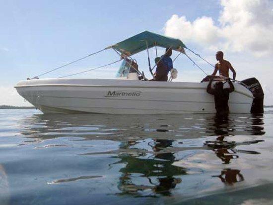 Mafia Island, Tanzânia:                   Park patrol boat in Coral Gardens