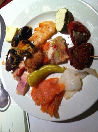 Hotel Tirolerhof:                   fish buffet, prawn, fish terrine, salmon, smoked fish, smoked hallibut, mussel