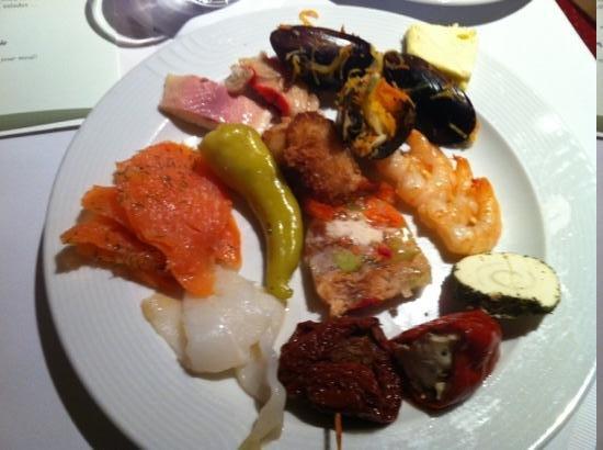 Landhotel Tirolerhof:                   fish buffet, prawn, fish terrine, salmon, smoked fish, smoked hallibut, mussel
