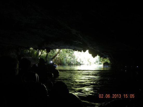 Cave Tubing & Zip Line with Explore Belize Caves:                   getting ready to exit caves