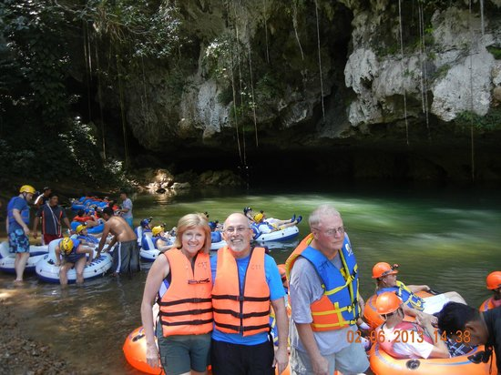 Cave Tubing & Zip Line with Explore Belize Caves:                   getting ready for tubing