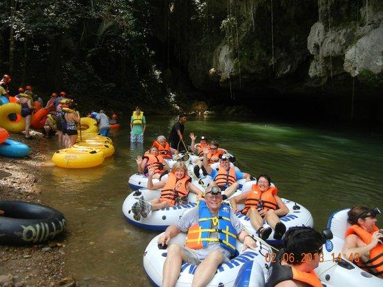 Cave Tubing & Zip Line with Explore Belize Caves:                   our group at beginning of tubing trip