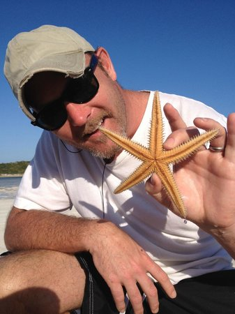 Liberty Fleet of Tall Ships:                   Dusty and his starfish on Rose Island