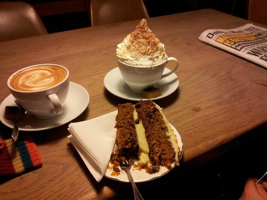 Skinny Kitten Cafe:                   coffee, hot chocolate and cake