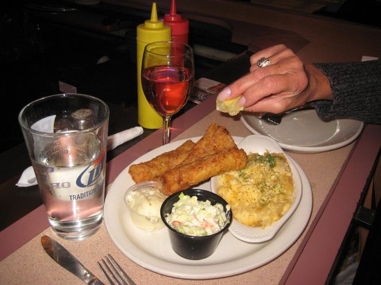 Meister's Bar & Grill:                   Fish Fry with cheese potato cole slaw tartar sauce and squeezen  the lemon