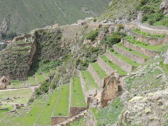 Ollantaytambo, Peru:                   Looking back at the main ruins