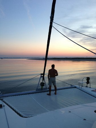 S/V Shenanigans - Private Charters: Coffee and a sunrise anchored at Morris Island