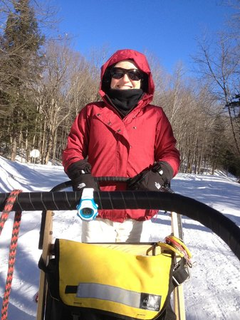 Barking Brook Sled Dog Adventures - Day Trips:                   On the back of the dog sled and loving it!