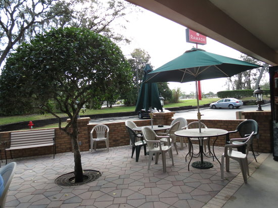 Ramada Temple Terrace/Tampa North:                   Nice little patio to sit outside and eat if you want