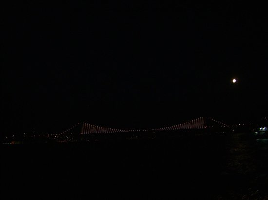 Bosphorus Strait: The Bosphorus Bridge by full moon