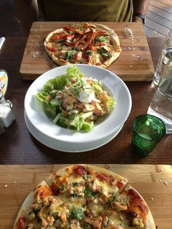Dux Dine:                   Pizzas (one seafood, one crayfish) especially good value, and Caesar salad lov