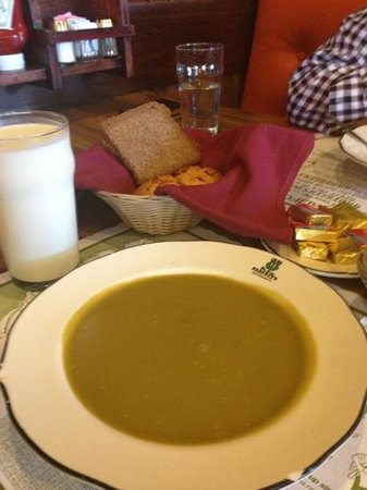 Pea Soup Andersen's: Pea soup, pumpernickel, buttermilk. Just because.
