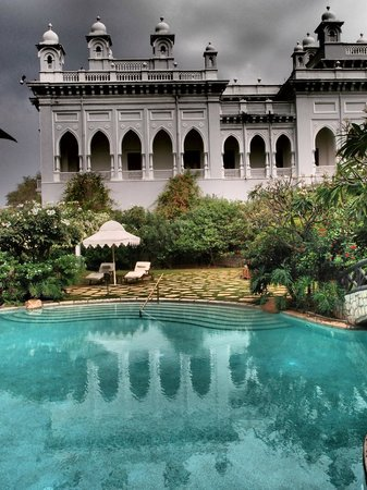 Taj Falaknuma Palace:                   Coronation room from pool area