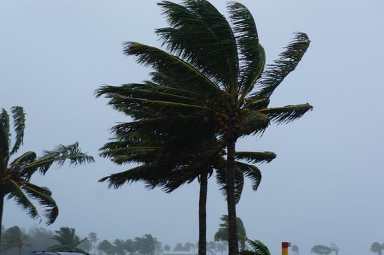 Aitutaki Lagoon Resort & Spa:                   Cyclone Gary greeting us