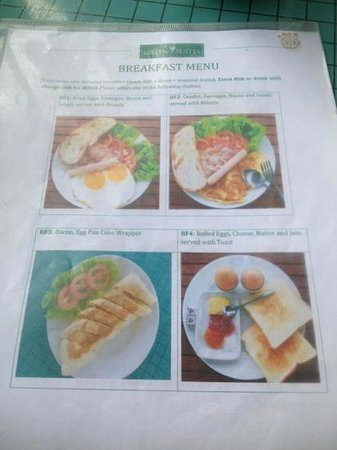 Green Suites Hotel:                   Breakfast menu side one and the food looks exactly like the pictures