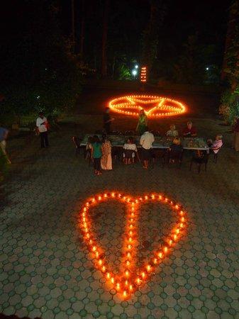 candles lit for dinner outside!