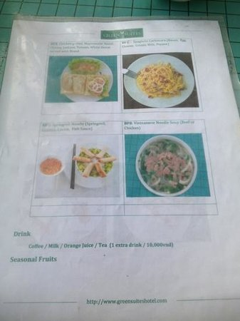 Green Suites Hotel:                   Breakfast menu side two