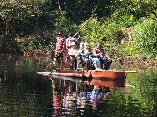 Dewalokam Farmstay Retreat:                                     On the raft at start of bush walk