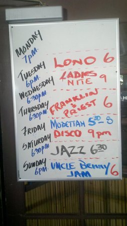 Paddlers Restaurant and Bar:                   Nightly entertainment board in Paddlers Inn