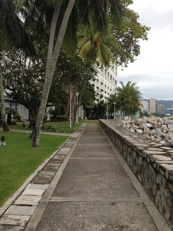 Eastern & Oriental Hotel:                   Path to breakfast along the coast